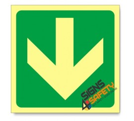 General Direction - Arrow Down, Photoluminescent, (Glow in the Dark) Sign