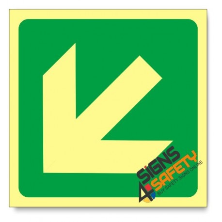 General Direction - Arrow Left Down, Photoluminescent, (Glow in the Dark) Sign