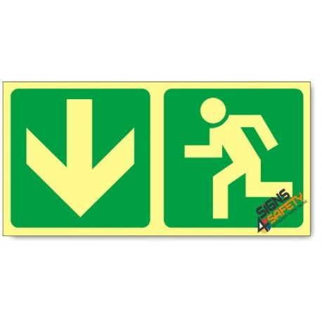 Escape Route Down, Photoluminescent, (Glow in the Dark) Sign