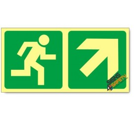 Escape Route Up Right, Photoluminescent, (Glow in the Dark) Sign
