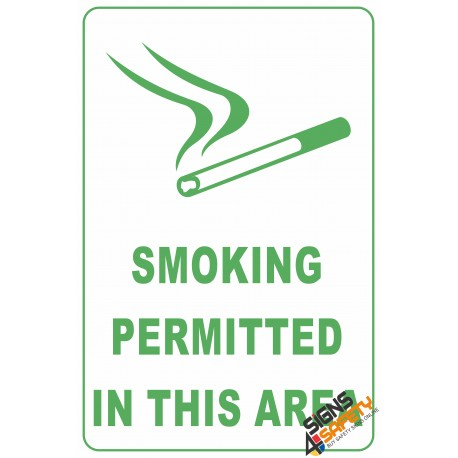 (NS25) Smoking Permitted In This Area Sign