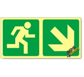 Escape Route Down Right, Photoluminescent, (Glow in the Dark) Sign
