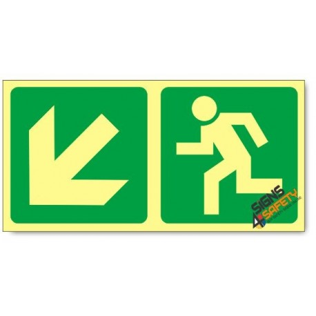 Escape Route Down Left, Photoluminescent, (Glow in the Dark) Sign