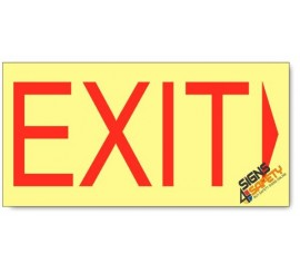 Emergency Exit Right, Photoluminescent, (Glow in the Dark) Sign