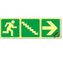 Escape Route Right Down Stairs, Photoluminescent, (Glow in the Dark) Sign