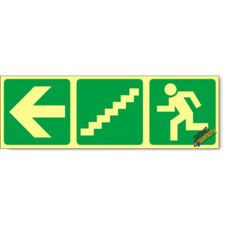 Escape Route Left Down Stairs, Photoluminescent, (Glow in the Dark) Sign