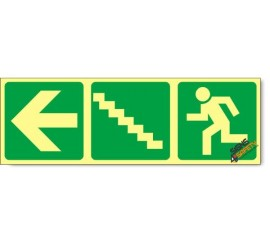Escape Route Left Up Stairs, Photoluminescent, (Glow in the Dark) Sign