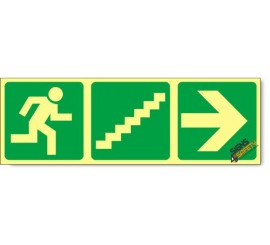 Escape Route Right Up Stairs, Photoluminescent, (Glow in the Dark) Sign