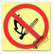 No Naked Flame / Open Flame, Photoluminescent, (Glow in the Dark) Sign