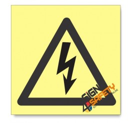 Electric Shock Hazard, Photoluminescent, (Glow in the Dark) Sign