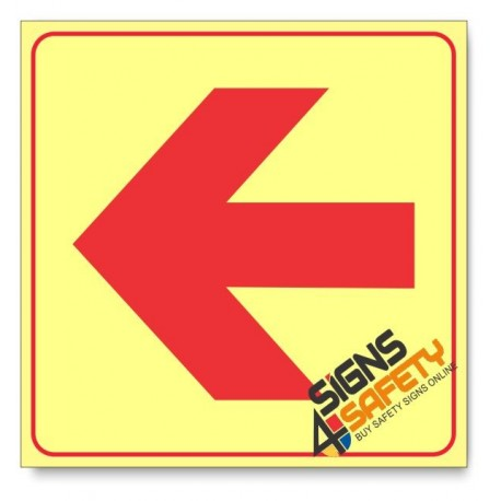 Location of Fire Fighting Equipment Arrow Left, Photoluminescent, (Glow in the Dark) Sign