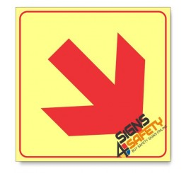 Location of Fire Fighting Equipment Arrow Down Right, Photoluminescent, (Glow in the Dark) Sign