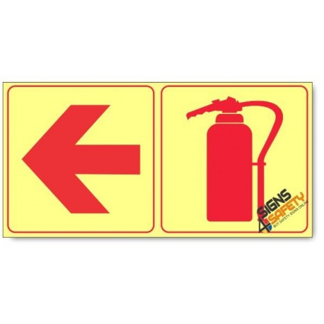Fire Extinguisher and Arrow Left, Photoluminescent, (Glow in the Dark) Sign