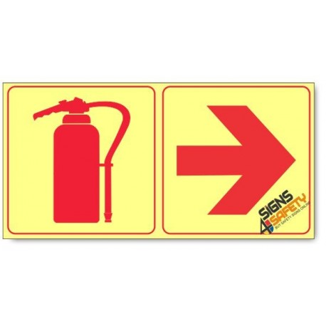Fire Extinguisher and Arrow Right, Photoluminescent, (Glow in the Dark) Sign