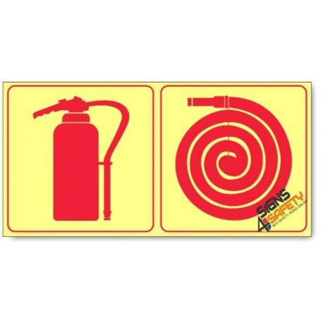 Fire Extinguisher and Fire Hose, Photoluminescent, (Glow in the Dark) Sign