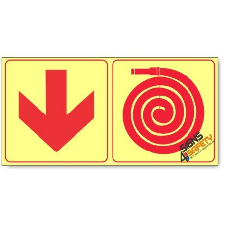 Fire Hose and Arrow Down, Photoluminescent, (Glow in the Dark) Sign