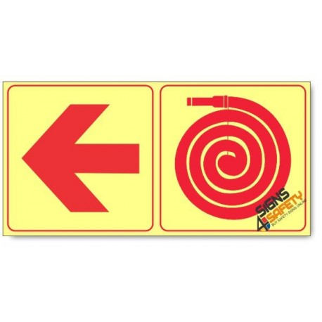 Fire Hose and Arrow Left, Photoluminescent, (Glow in the Dark) Sign