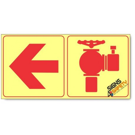 Fire Hydrant and Arrow Left, Photoluminescent, (Glow in the Dark) Sign