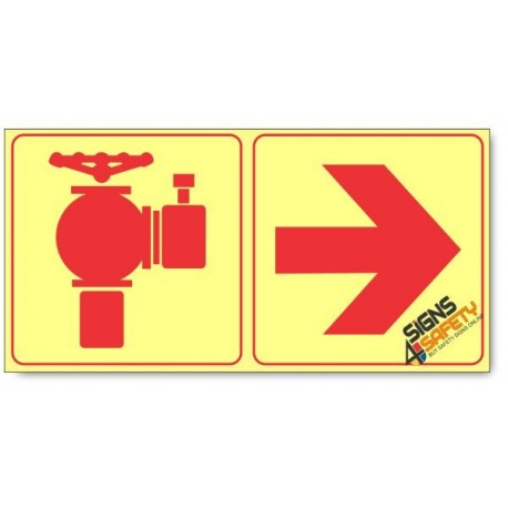 Fire Hydrant and Arrow Right, Photoluminescent, (Glow in the Dark) Sign