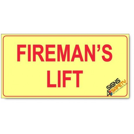 Fireman's Lift, Photoluminescent, (Glow in the Dark) Sign