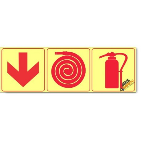 Fire Extinguisher / Fire Hose / Arrow Down , Photoluminescent, (Glow in the Dark) Sign