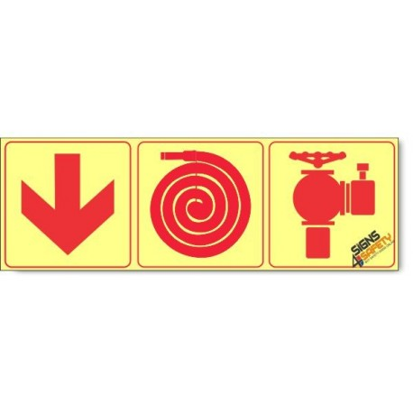 Fire Hydrant / Fire Hose / Arrow Down, Photoluminescent, (Glow in the Dark) Sign