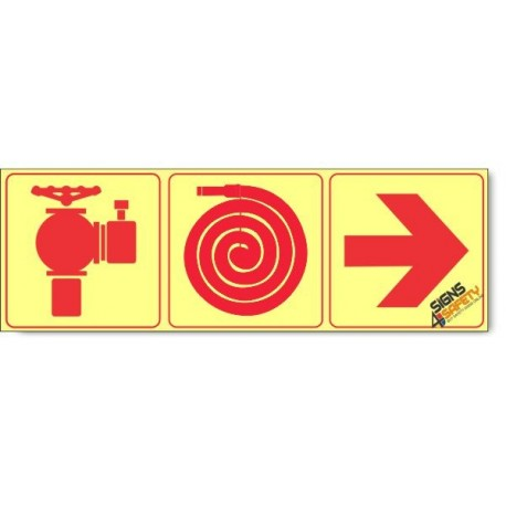 Fire Hydrant / Fire Hose / Arrow Right, Photoluminescent, (Glow in the Dark) Sign