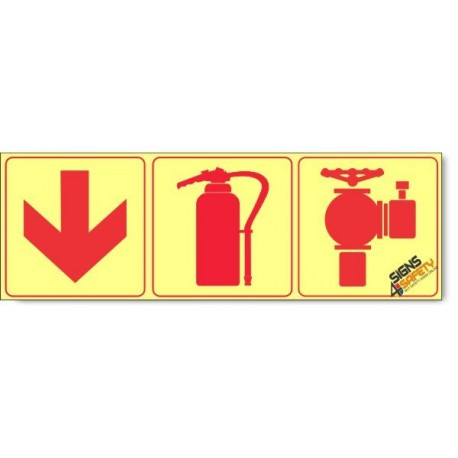 Fire Hydrant / Fire Extinguisher / Arrow Down, Photoluminescent, (Glow in the Dark) Sign