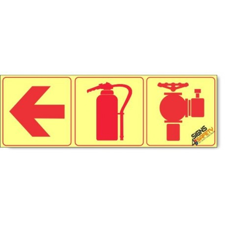 Fire Hydrant / Fire Extinguisher / Arrow Left, Photoluminescent, (Glow in the Dark) Sign