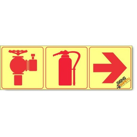 Fire Hydrant / Fire Extinguisher / Arrow Right, Photoluminescent, (Glow in the Dark) Sign