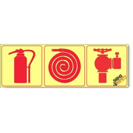 Fire Hydrant / Fire Extinguisher / Fire Hose, Photoluminescent, (Glow in the Dark) Sign