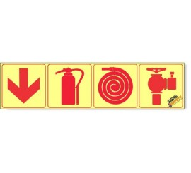 Fire Hydrant / Fire Extinguisher / Fire Hose / Arrow Down, Photoluminescent, (Glow in the Dark) Sign