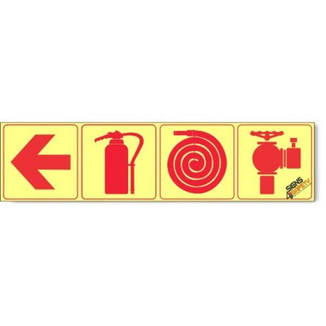Fire Hydrant / Fire Extinguisher / Fire Hose / Arrow Left, Photoluminescent, (Glow in the Dark) Sign