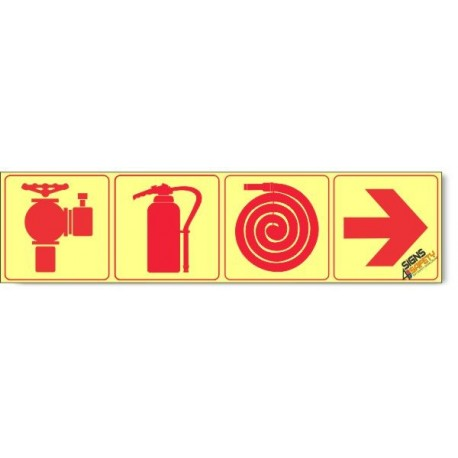 Fire Hydrant / Fire Extinguisher / Fire Hose / Arrow Right, Photoluminescent, (Glow in the Dark) Sign