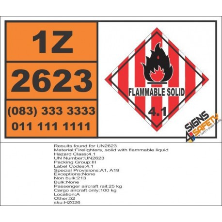 UN2623 Firelighters, solid with flammable liquid, Flammable Solid (4), Hazchem Placard