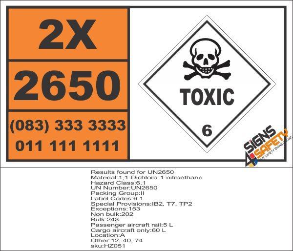 UN2650 1,1-Dichloro-1-nitroethane, Toxic (6), Hazchem Placard - Bakkie  Magnet 350mm*200mm