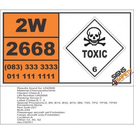 UN2668 Chloroacetonitrile, Toxic (6), Hazchem Placard