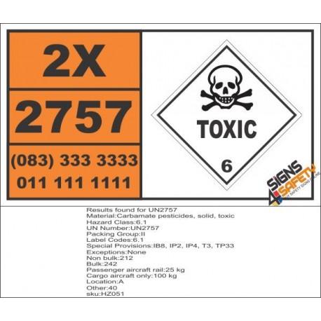 UN2757 Carbamate pesticides, solid, Toxic (6), Hazchem Placard