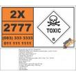 UN2777 Mercury based pesticides, solid, Toxic (6), Hazchem Placard