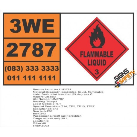UN2787 Organotin pesticides, liquid, flammable, toxic, Flammable Liquid (3), Hazchem Placard