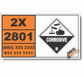 UN2801 Dyes, liquid, corrosive, n.o.s., Corrosive (8), Hazchem Placard