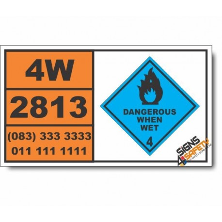 UN2813 Water-reactive solid, n.o.s., Dangerouse When Wet (4), Hazchem Placard