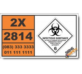 UN2814 Infectious substances, affecting humans, Infectious Substance (6), Hazchem Placard