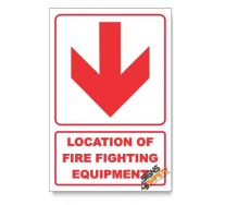 Location Of Fire Fighting Equipment, Arrow Down, Descriptive Safety Sign