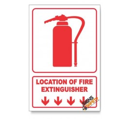 Fire Extinguisher, Arrow Down, Descriptive Safety Sign