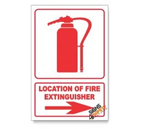 Fire Extinguisher, Arrow Right, Descriptive Safety Sign