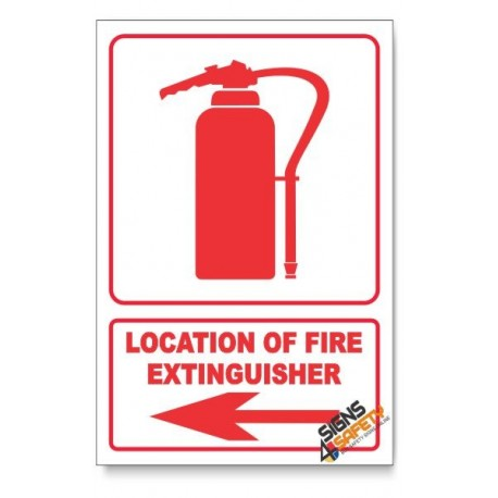 Fire Extinguisher, Arrow Left, Descriptive Safety Sign