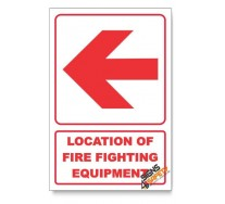 Location of Fire Fighting Equipment, Arrow Left, Descriptive Safety Sign