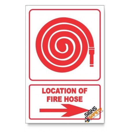 Fire Hose, Arrow Right, Descriptive Safety Sign