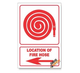 Fire Hose, Arrow Left, Descriptive Safety Sign